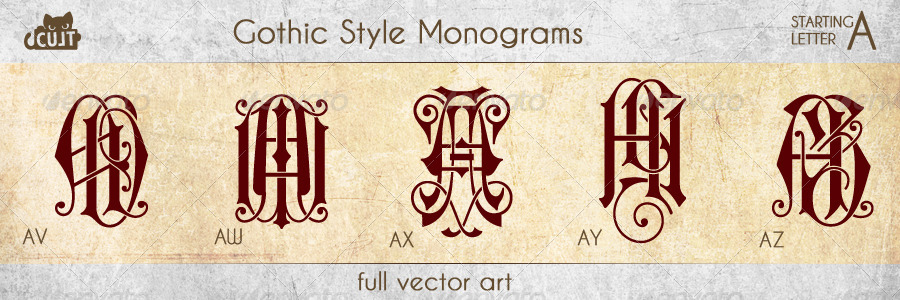 Gothic Style Monograms Starting With Letter A