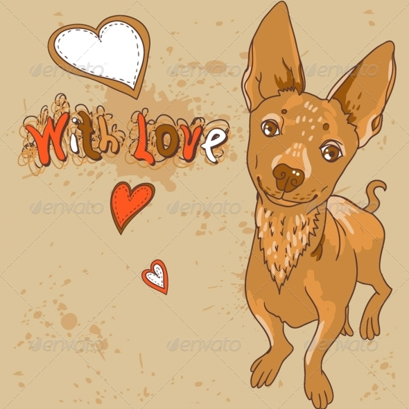 Cartoon Vector Illustration with Dog - Animals Characters
