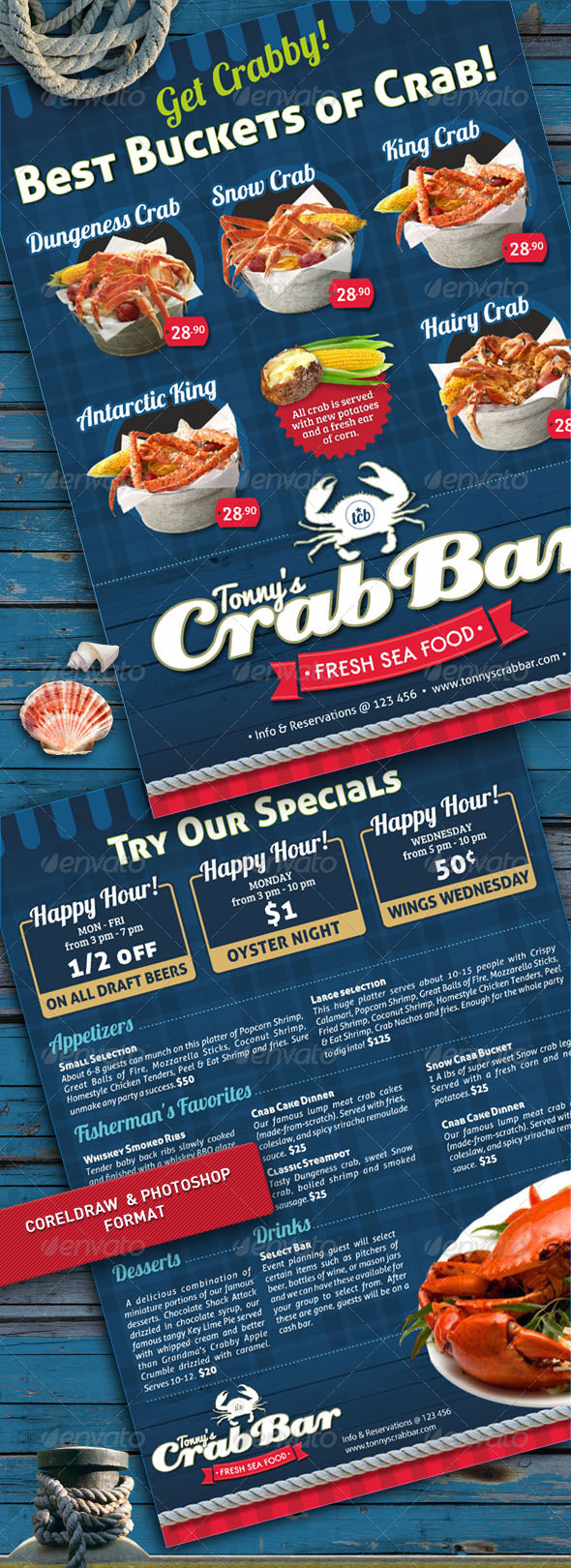 Crab Bar Menu Flyer Template - Restaurant Flyers