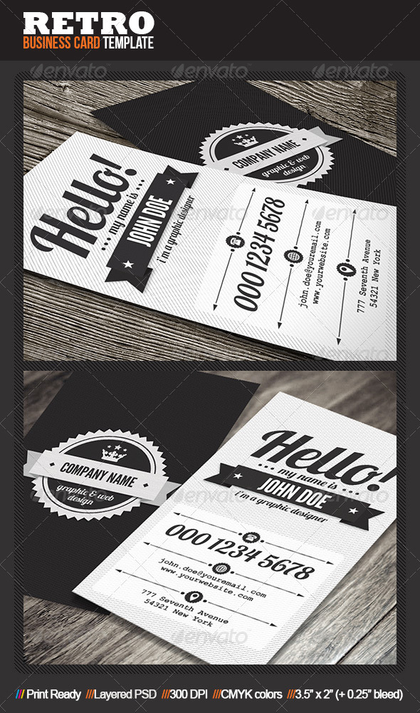Clean retro business card by mengloong graphicriver clean retro business card retrovintage business cards cheaphphosting Choice Image