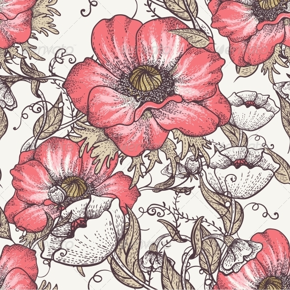 Vintage Seamless Pattern with Poppies - Flowers & Plants Nature