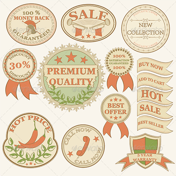Vintage Labels and Ribbon Retro Style Set.   - Retail Commercial / Shopping