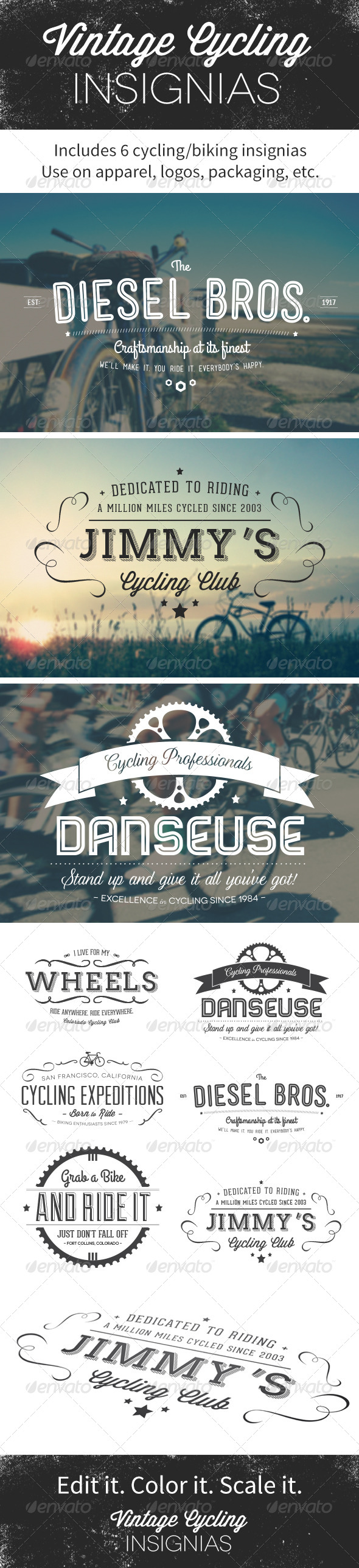 Vintage Cycling Insignias | Logos - Miscellaneous Characters
