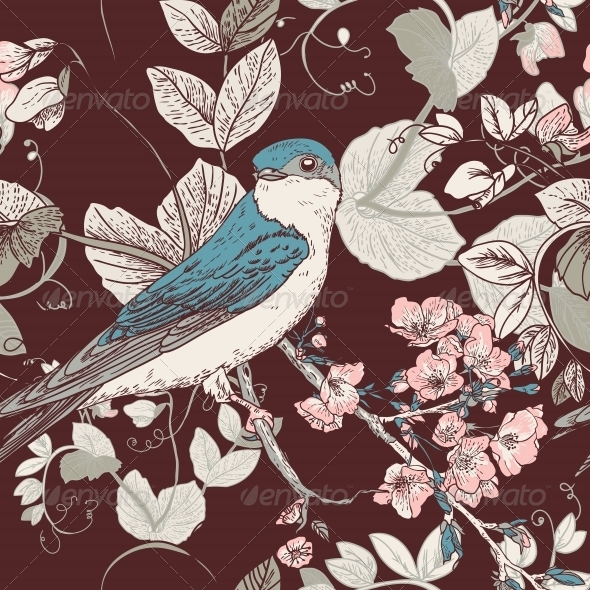 Seamless Floral Background with Bird - Flowers & Plants Nature