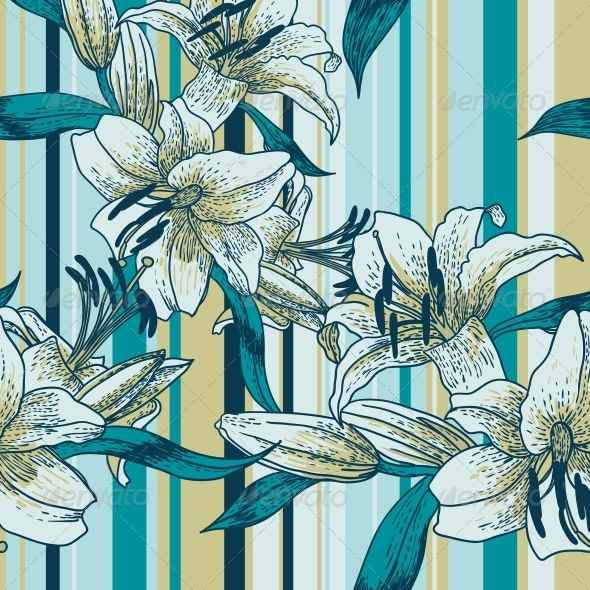 Beautiful Seamless Pattern with Lilies - Backgrounds Decorative