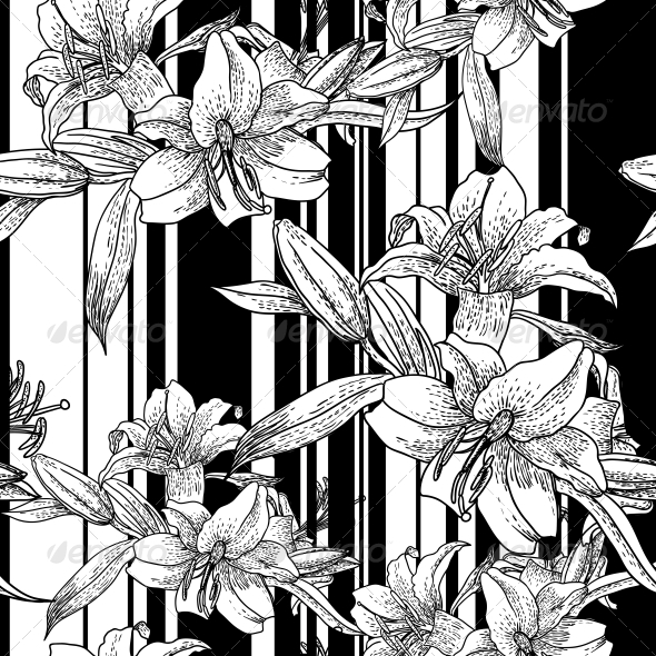 Monochrome Seamless Pattern with Lily Flowers - Backgrounds Decorative