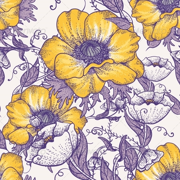 Beautiful Seamless Floral Pattern - Flowers & Plants Nature