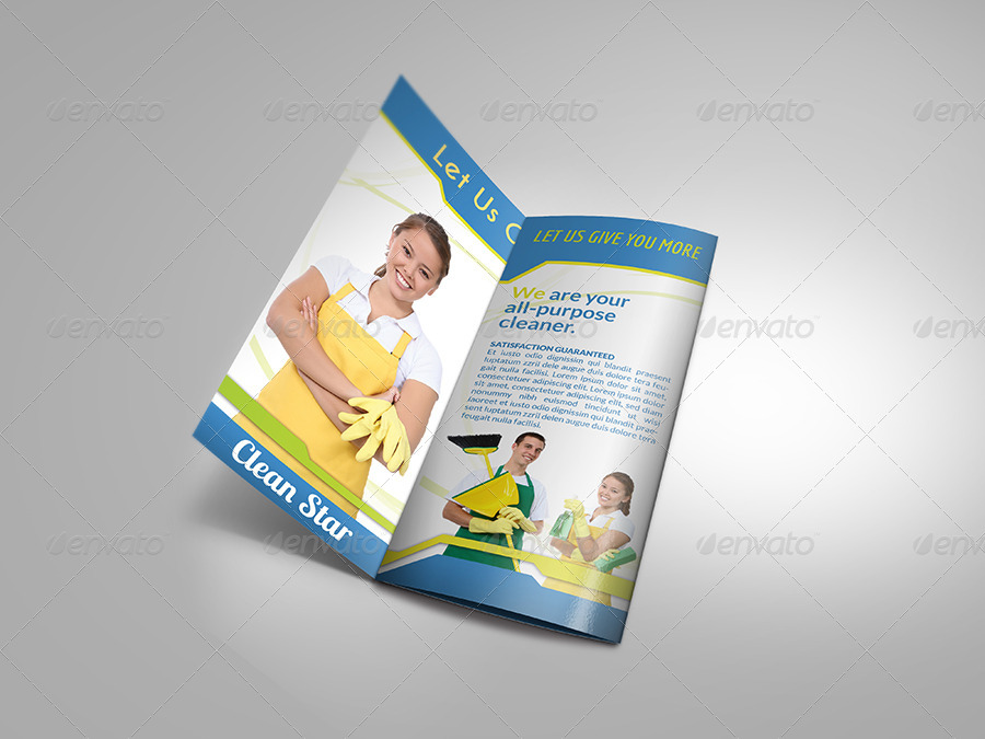 Cleaning Services Tri-Fold Brochure by OWPictures   GraphicRiver