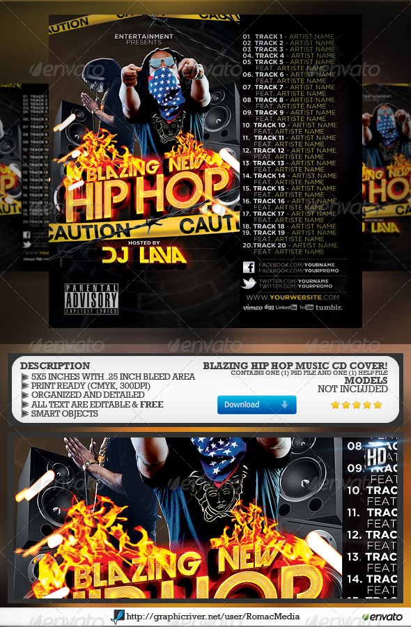 Blazing New Hip Hop CD Cover - CD & DVD Artwork Print Templates