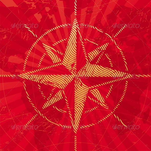 Grunge Compass Rose on a Map Background - Travel Conceptual