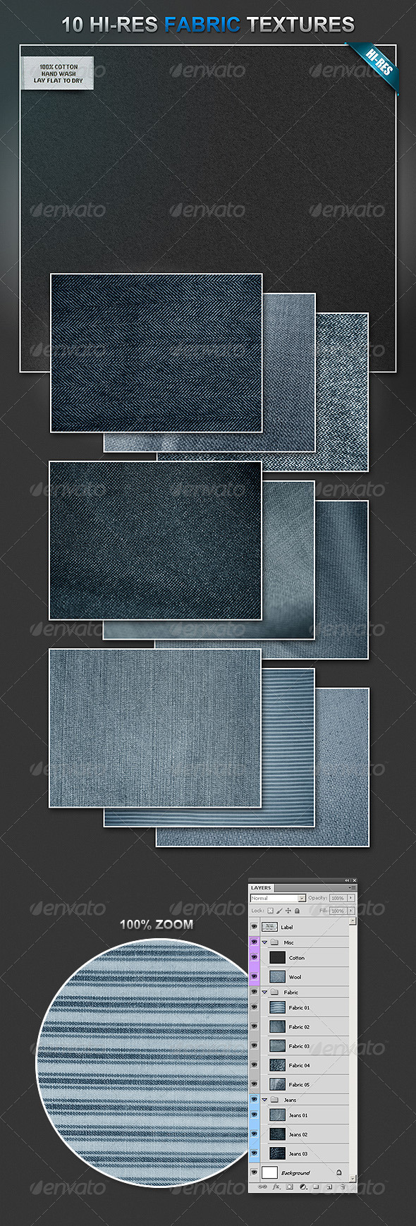 10 Fabric Materials - Backgrounds Graphics