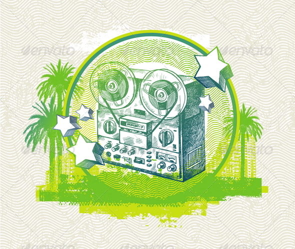 Grunge Illustration with Old Reel Recorder - Retro Technology