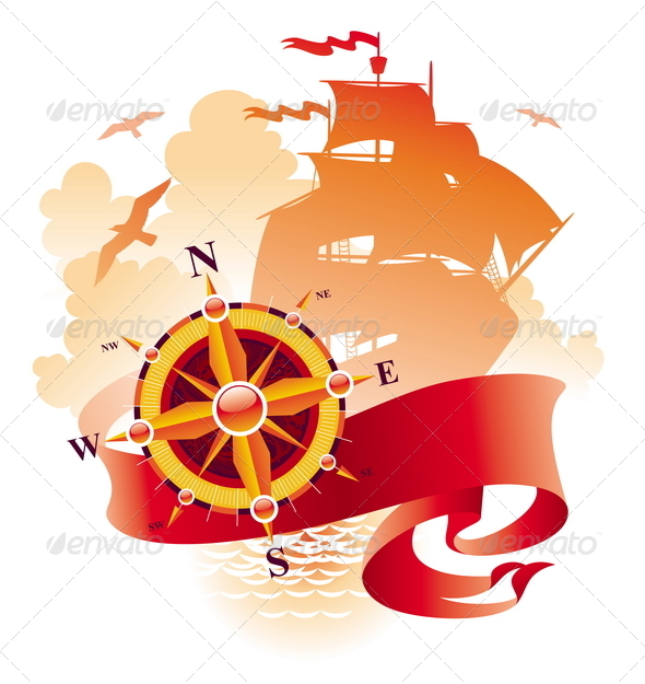 Adventures Design - Compass Rose & Sail Ship - Travel Conceptual