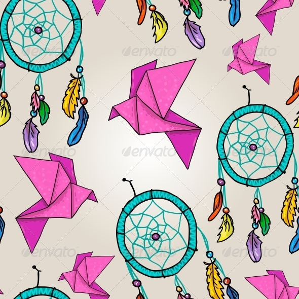 Background with Origami and Dream Catchers - Backgrounds Decorative