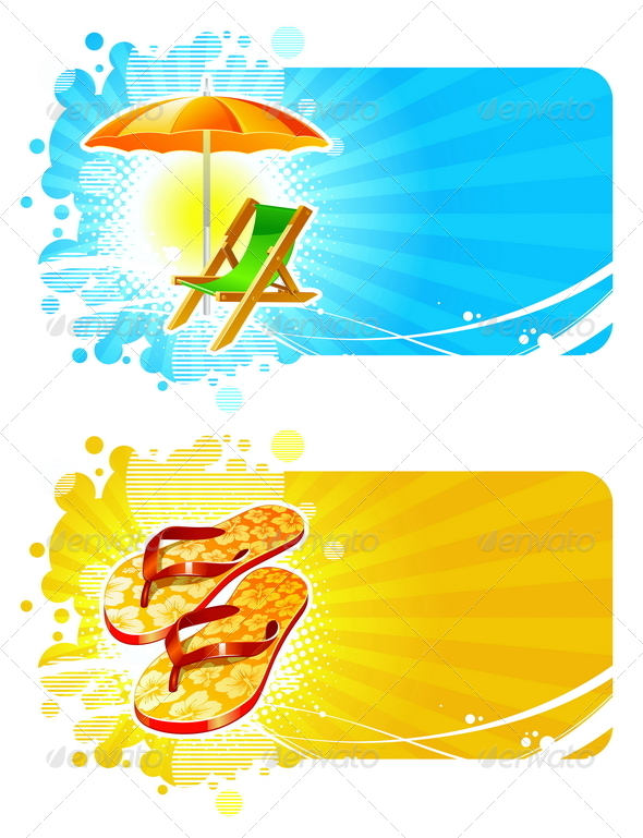 Banners with Tropical Vacation Symbols - Travel Conceptual