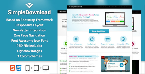 SimpleDownload Landingpage - Marketing Corporate
