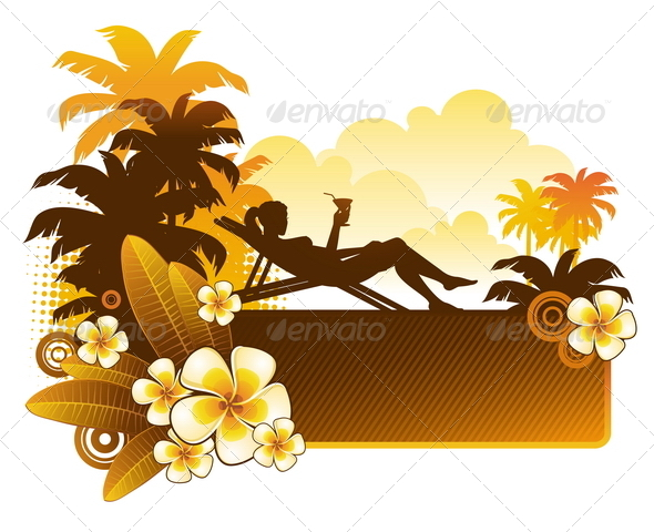 Silhouette of a Girl on a Tropical Landscape - People Characters