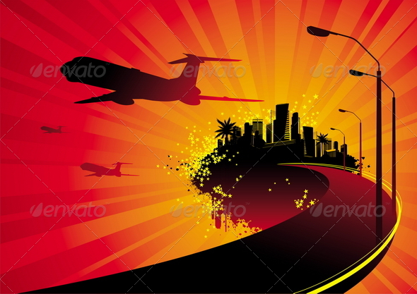 Road to City on Island and Airplane Silhouettes. - Travel Conceptual