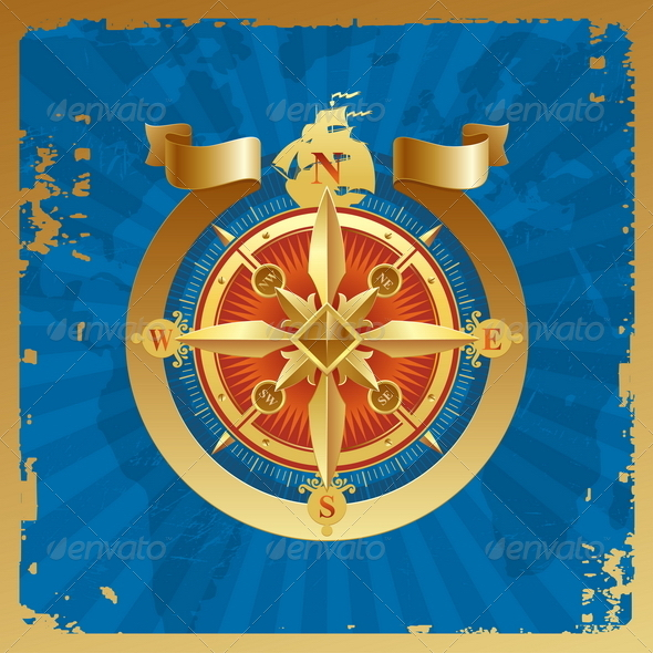 Vintage Golden Compass Rose - Travel Conceptual