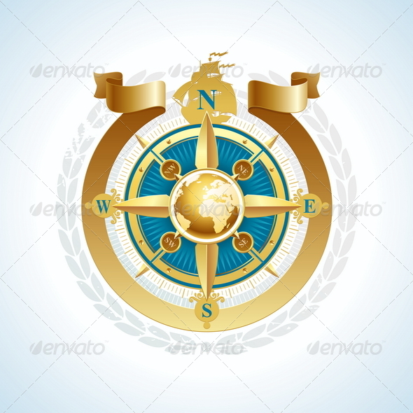 Golden Compass Rose with Globe and Ribbon - Travel Conceptual