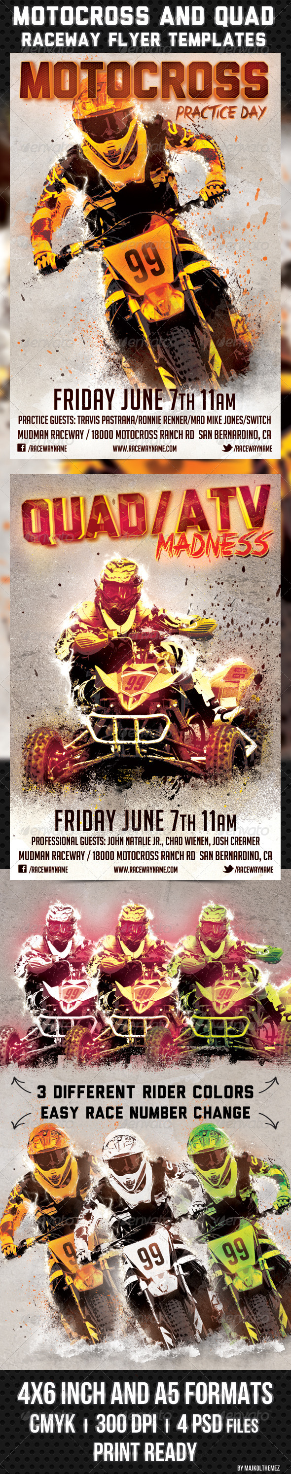 Motocross and Quad Raceway Flyer Template - Sports Events