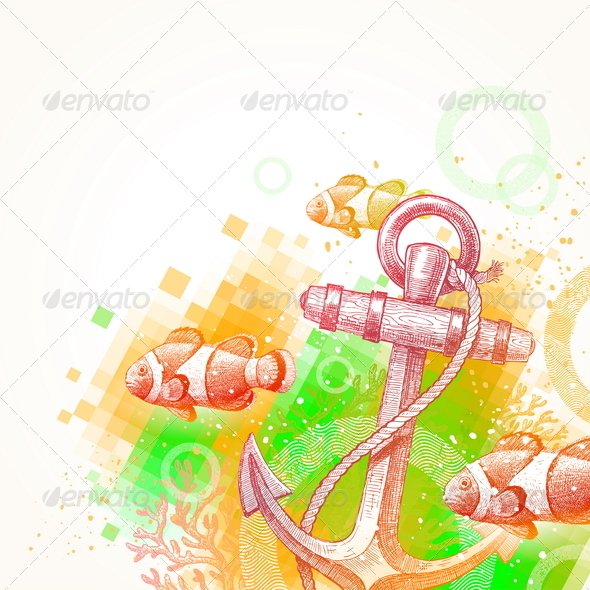 Hand Drawn Anchor and Tropical Fishes  - Objects Vectors
