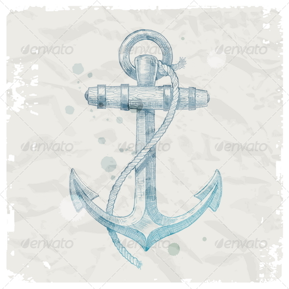 Hand Drawn Anchor on Grunge Paper Background - Objects Vectors