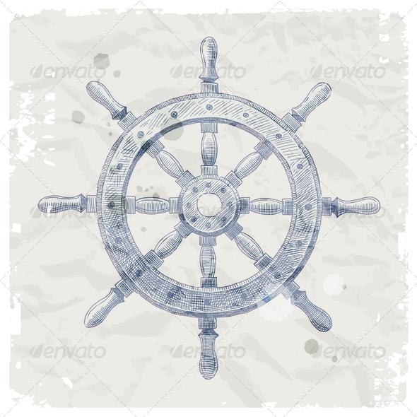 Hand Drawn Vintage Ship Steering Wheel - Retro Technology