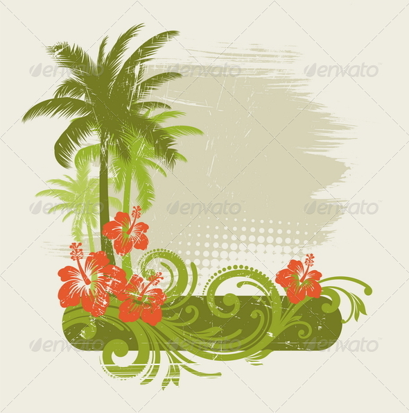 Tropical Design with Floral Elements - Decorative Vectors