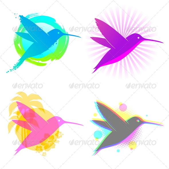 Hummingbird Vector Emblems - Animals Characters