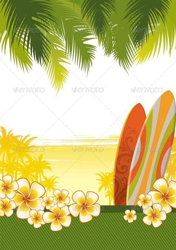 Surfboards & Frangipani Flowers - Nature Conceptual