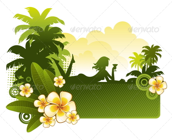 Girl with Cocktail on a Tropical Landscape - Travel Conceptual