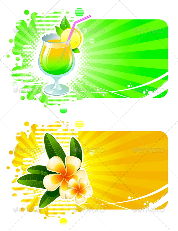 Vector Frames with Cocktail and Tropical Flowers - Travel Conceptual