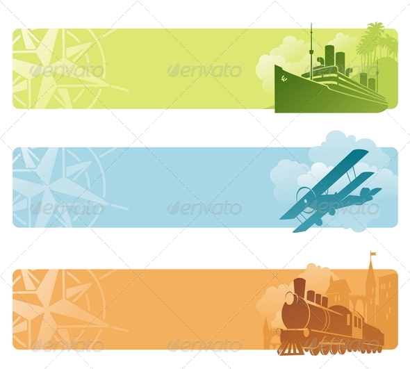 Vector Banners - Retro Transport - Retro Technology