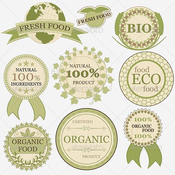 Set of Eco Bio Natural Labels, Retro Vintage Style - Health/Medicine Conceptual
