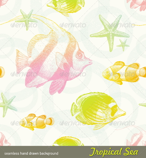 Seamless Pattern with Tropical Fishes - Animals Characters
