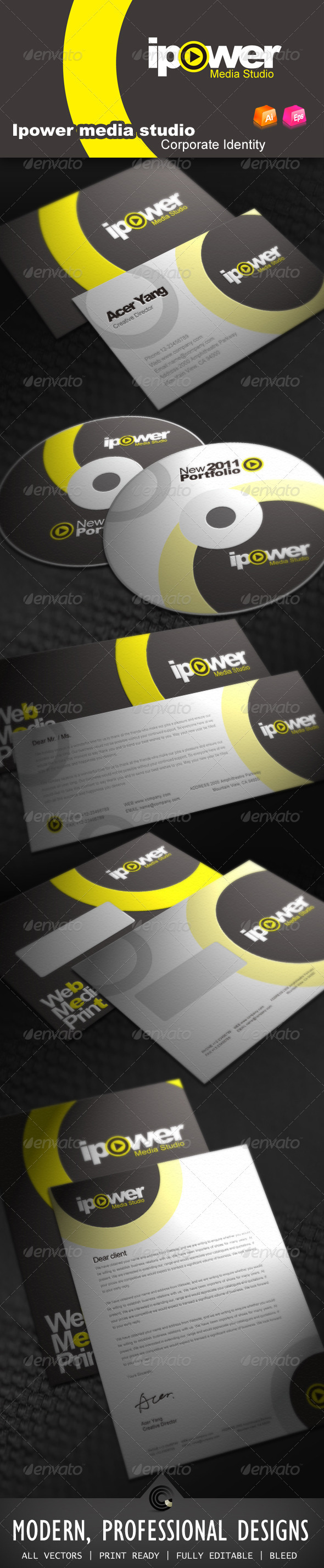Ipower Midea Studio Corporate Identity - Stationery Print Templates