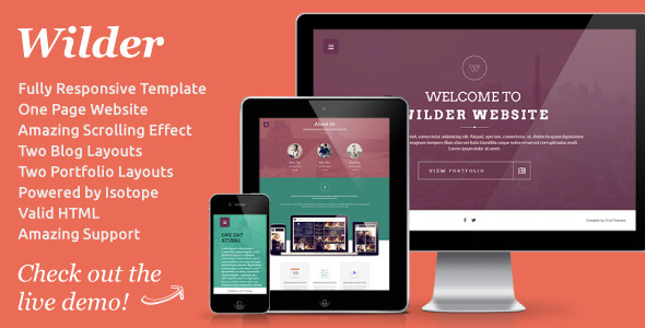 Wilder – Flat One Page Responsive Website Template