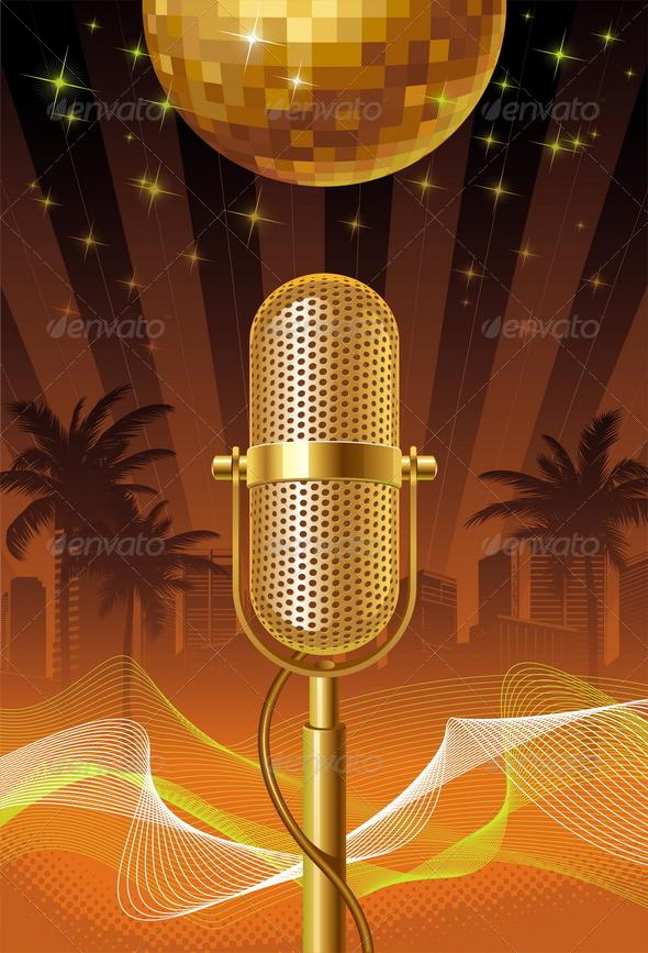 Retro Microphone & Disco Ball  - Objects Vectors