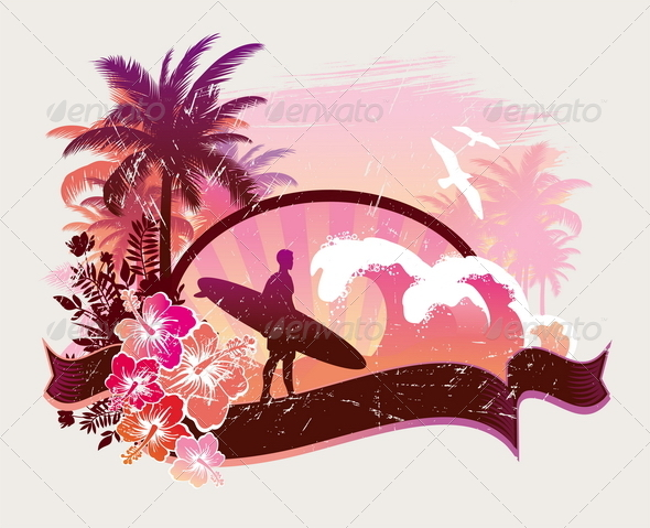 Surfer on a Tropical Beach - Sports/Activity Conceptual