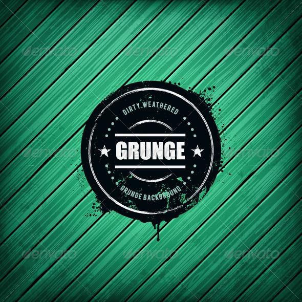 Grunge Banner on Wooden Background - Vectors