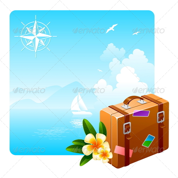 Travel Suitcase and Tropical Flowers - Travel Conceptual