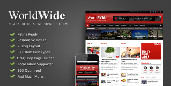 World Wide - Responsive Magazine WP Theme - News / Editorial Blog / Magazine
