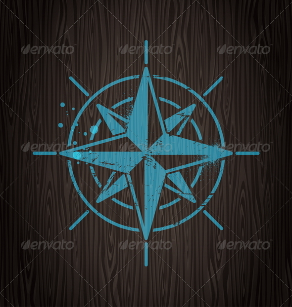 Vector Compass Rose Painting on a Wooden Wall - Travel Conceptual