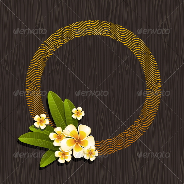 Abstract Round Frame & Tropical Flowers  - Flowers & Plants Nature