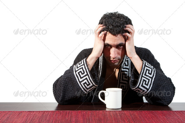 Morning guy drinking coffee - Stock Photo - Images