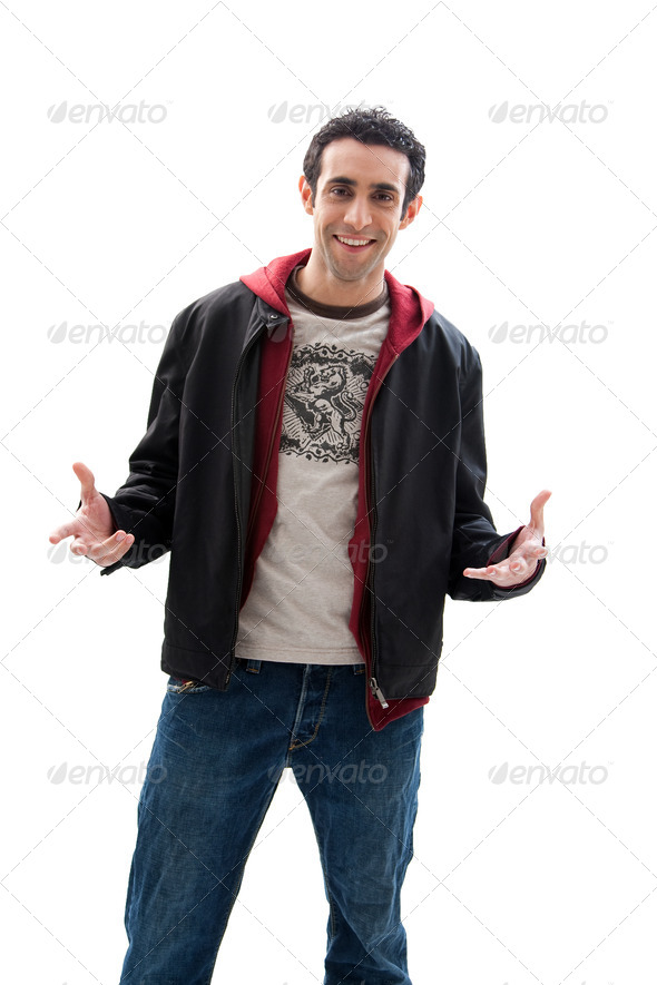 Handsome guy with open hands - Stock Photo - Images