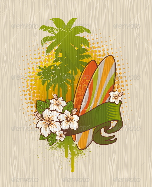 Tropical Surf Emblem Painting on a Wood Board - Nature Conceptual