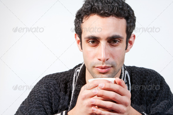 Man with cup - Stock Photo - Images