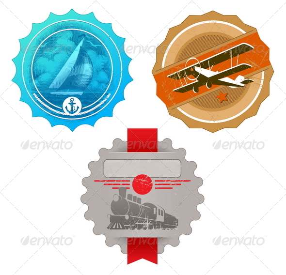 Vector Vintage Labels with Retro Transport - Retro Technology